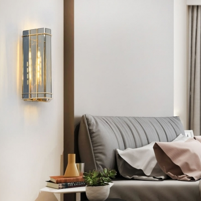 1 Light Square/Rectangle Wall Lamp Contemporary Clear Crystal Wall Lamp for Bedroom