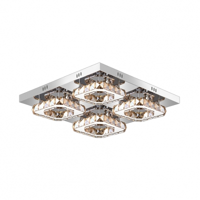 4 Square Semi Flushmount with Amber Crystal Decoration Modern Chic Stainless LED Ceiling Fixture