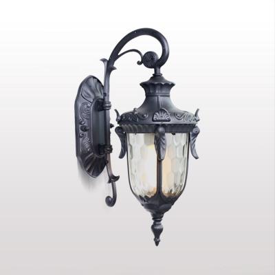 Metal Lantern Landscape Lamp Waterproof 1 Light Vintage Wall Sconce in Black/Bronze for Yard, HL512124