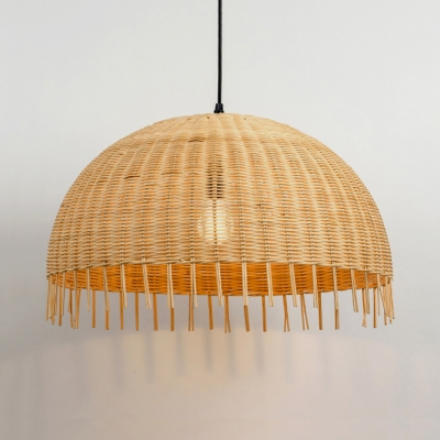 Dome Shade Drop Light with Adjustable Hanging Chain Rustic Bamboo Single Light Pendant Lighting in Beige