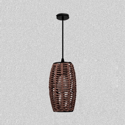 Woven Bucket Ceiling Pendant Light for Restaurant Rustic 1/3 Light Suspended Lamp in Beige/Coffee