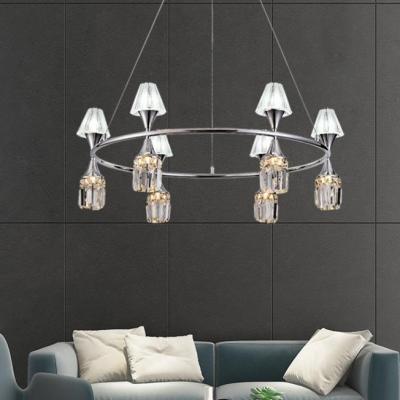 6/12 Lights Linear/Ring Chandelier Modern Metal Ceiling Pendant in Chrome for Living Room