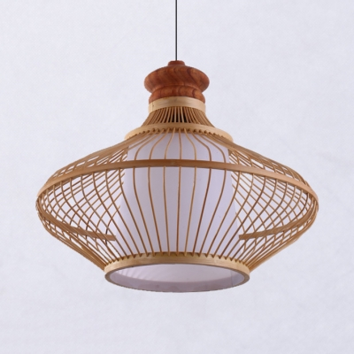 Asian Beige Ceiling Pendant Light with Gourd Shade 1 Light Bamboo Suspended Light