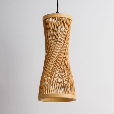 Bamboo Hourglass Hanging Lamp Asian Lodge Indoor Pendant Light for Hall with 39