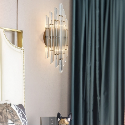 Bathroom Wall Light Fixture Metal Contemporary Gold Sconce Light with Clear Crystal