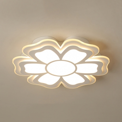 Bloom Hallway Flush Light Acrylic Modern LED Ceiling Fixture in White/Warm for Living Room