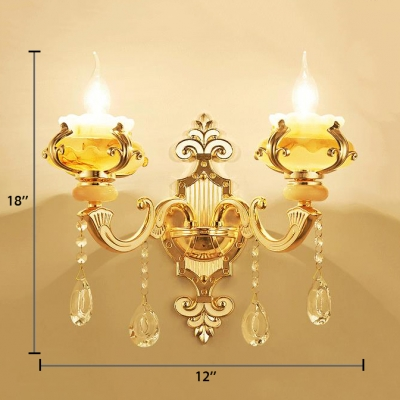 Candle Sconce Light with Clear Crystal for House 1/2-Light Vintage Style Jade Wall Mounted Lighting
