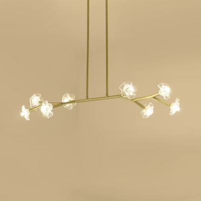 Clear Glass Floral Hanging Light 8 Bulbs Modern Pendant Lighting in Black/Gold for Living Room
