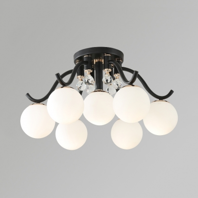 Contemporary White Semi-Flush Mount Light with Orb 3/4/7 Lights Acrylic Ceiling Lamp for Bedroom