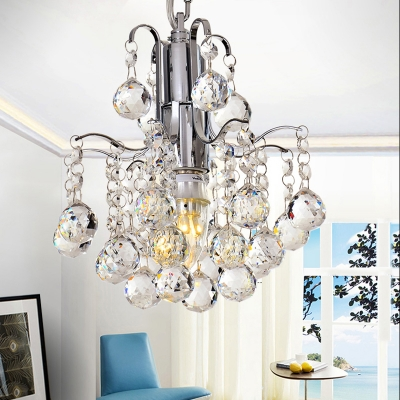 Dining Room Chandelier Clear Crystal 1 Light Contemporary Adjustable