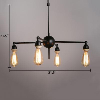 Dining Room Starburst Chandelier Industrial Black 4 Lights Pendant Lamp with Rod