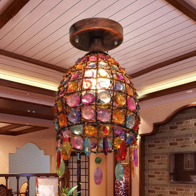Dome Globe Ceiling Flush Light With Colorful Crystal Beads 1 Light