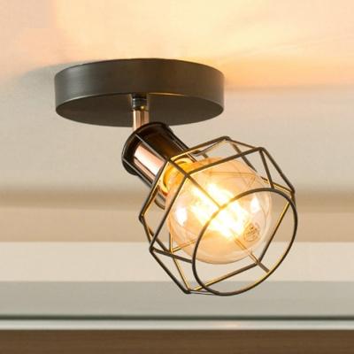 Globe Mini Semi Flush Mount with Black/White Cage Single Light Industrial Ceiling Light HL514110 фото