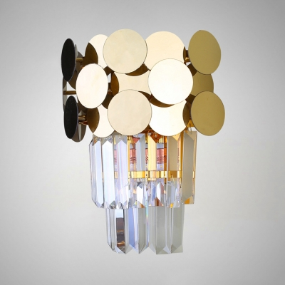 Gold Wall Light Fixture with Clear Crystal 1/3 Lights Contemporary Metal Sconce Light for Living Room