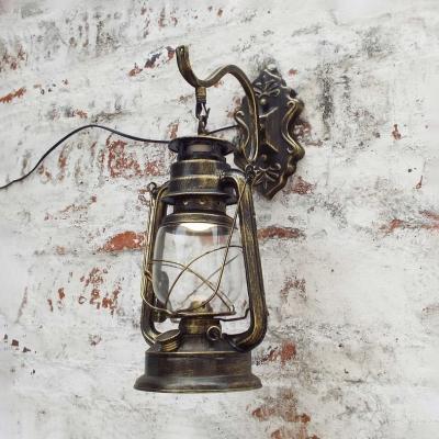 Living Room Kerosene Wall Lamp Metal Single Light Vintage Sconce Light in Black/Bronze