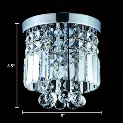 Modern Drum Flush Ceiling 1 Light Clear Crystal Chandelier in Chrome