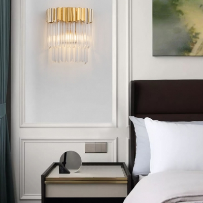 Modern Drum Wall Lamp 1/3/4 Lights Clear Crystal Sconce Light in Gold for Bathroom