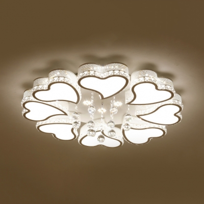 Modern Heart Shape Flush Light Acrylic LED Light Fixture with Clear Crystal Ball in White