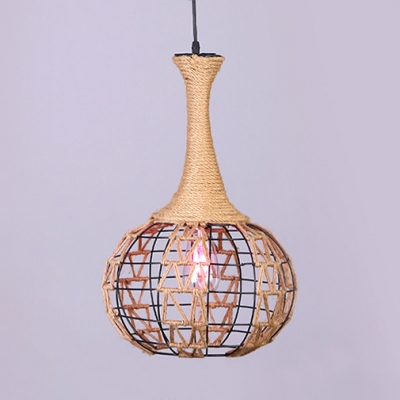 Orb Shape Hanging Light with Adjustable Cord Single Light Rope Rustic Pendant Lighting in Brown for Living Room