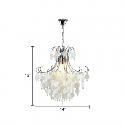 Shell Chandelier with Clear Crystal Beads Bedroom Modern Pendant Lighting in Chrome