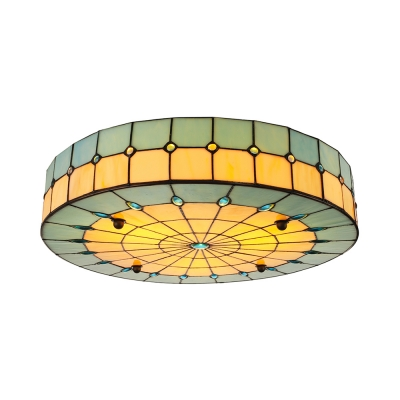 Tiffany Stained Glass Flush Ceiling Light in Drum Shade for Kitchen Bedroom Restaurant