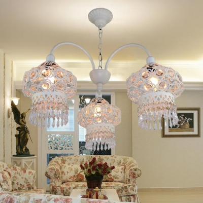 White Curved Arm Chandelier with Adjustable Hanging Chain Clear/Blue/Multi Color Crystal 3 Lights Pendant Light