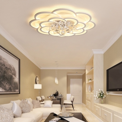 White Flower Flush Ceiling Light with Clear Crystal Modern Acrylic LED Ceiling Fixture for Dining Room