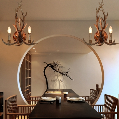 2 Lights Candle Sconce with Elk Horn Decoration Rustic Metal Wall Light Fixture in White/Bronze