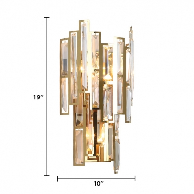 3-Light Sconce Lighting Modern Style Clear Crystal Wall Light Fixture in Gold, L:10in W:5.5in H:19in