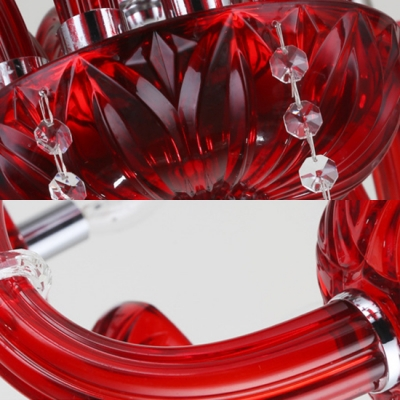 Vintage Candle Chandelier with Adjustable Cord Clear Crystal 10 Lights Red Pendant Lights for Bedroom
