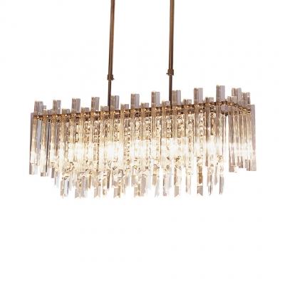 Drum/Rectangle Living Room Chandelier Clear Crystal 5 Lights Modern Chandelier Light