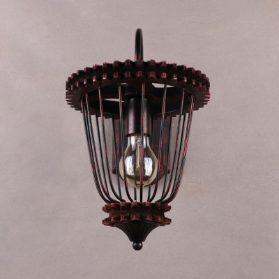 Caged Wall Sconce Metal Single Light Vintage Wall Sconce for Living Room
