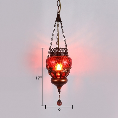 Antique Pendant Lighting Single Light Metal Hanging Lamp with Crystal in Bronze for Foyer