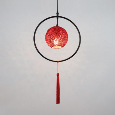 Beige/Blue/Red Ball Drop Light with Tassels 1 Light Lodge Style Rattan Ceiling Pendant