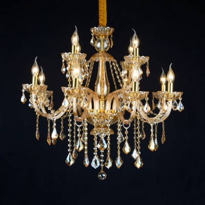 Candle Hanging Chandelier Living Room 6 Lights Modern Chandelier with 12