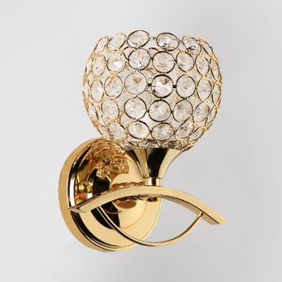Contemporary Style Sphere Wall Mounted Lighting 1 Light Clear Crystal Sconce Light in Silver/Gold