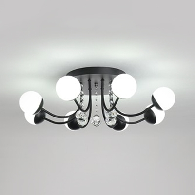 Globe LED Semi Flush Ceiling Light Modern Acrylic Semi Ceiling Fixture with Clear Crystal in White/Black