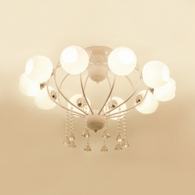 Heart Shape Semi-Flush Light Bedroom 3/6/10 Lights Modern Ceiling Fixture with Clear Crystal in Black/White