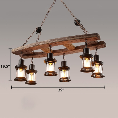 Industrial Drum Island Lamps 6 Lights Metal Island Light Fixtures with 19.5