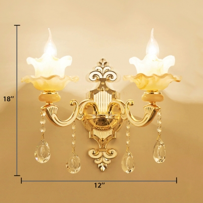 Jade Candle Shape Wall Lamp with Clear Crystal Decoration 1/2-Light Antique Style Sconce Lighting