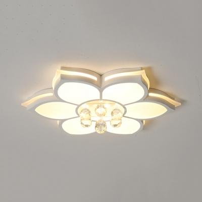 Living Room LED Flush Light Acrylic Modern White Flush Ceiling Light with Clear Crystal Ball