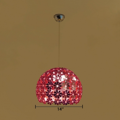 Modern Orb Pendant Lamp Metal 1 Light Purple/Red Ceiling Fixture with Clear Crystal Bead for Living Room