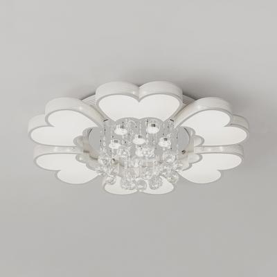 Petal Living Room Flush Light Acrylic 3/4/6/9 Lights Modern Flush Mount Light in White