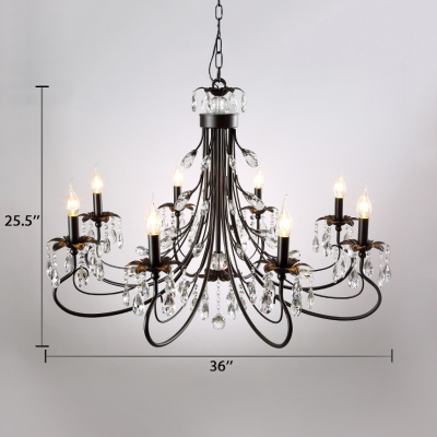 Vintage Black Chandelier with Candle and Clear Crystal 6/8/12 Lights Metal Pendant Lighting with 19.5