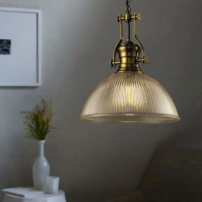 Vintage Dome Pendant with Ribbed Glass Single Head Suspended Light in Brass for Corridor Hallway