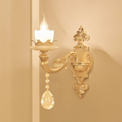 1/2 Lights Candle Wall Lamp Classic Clear Crystal Wall Light Fixture in Gold for Bedroom