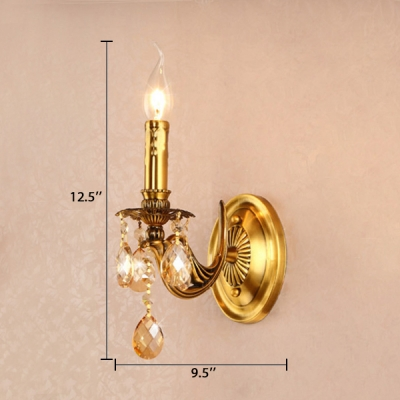 1/2 Lights Candle Wall Sconce with Clear Crystal Prisms Vintage Lighting Fixture in Gold for Hallway