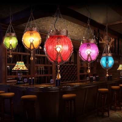 1 Light Globe Pendant Lamp Traditional Glass Ceiling Light Fixture with Crystal for Dining Room