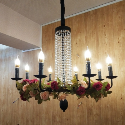 5/8/12 Lights Candle Pendant Lighting with Flower and Crystal Decoration Colonial Chandelier Light in Black