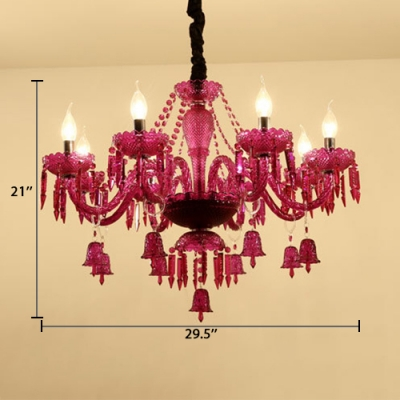 Candle Chandelier Dining Room 8 Lights Antique Chandelier Light with Adjustable Cord in Purple